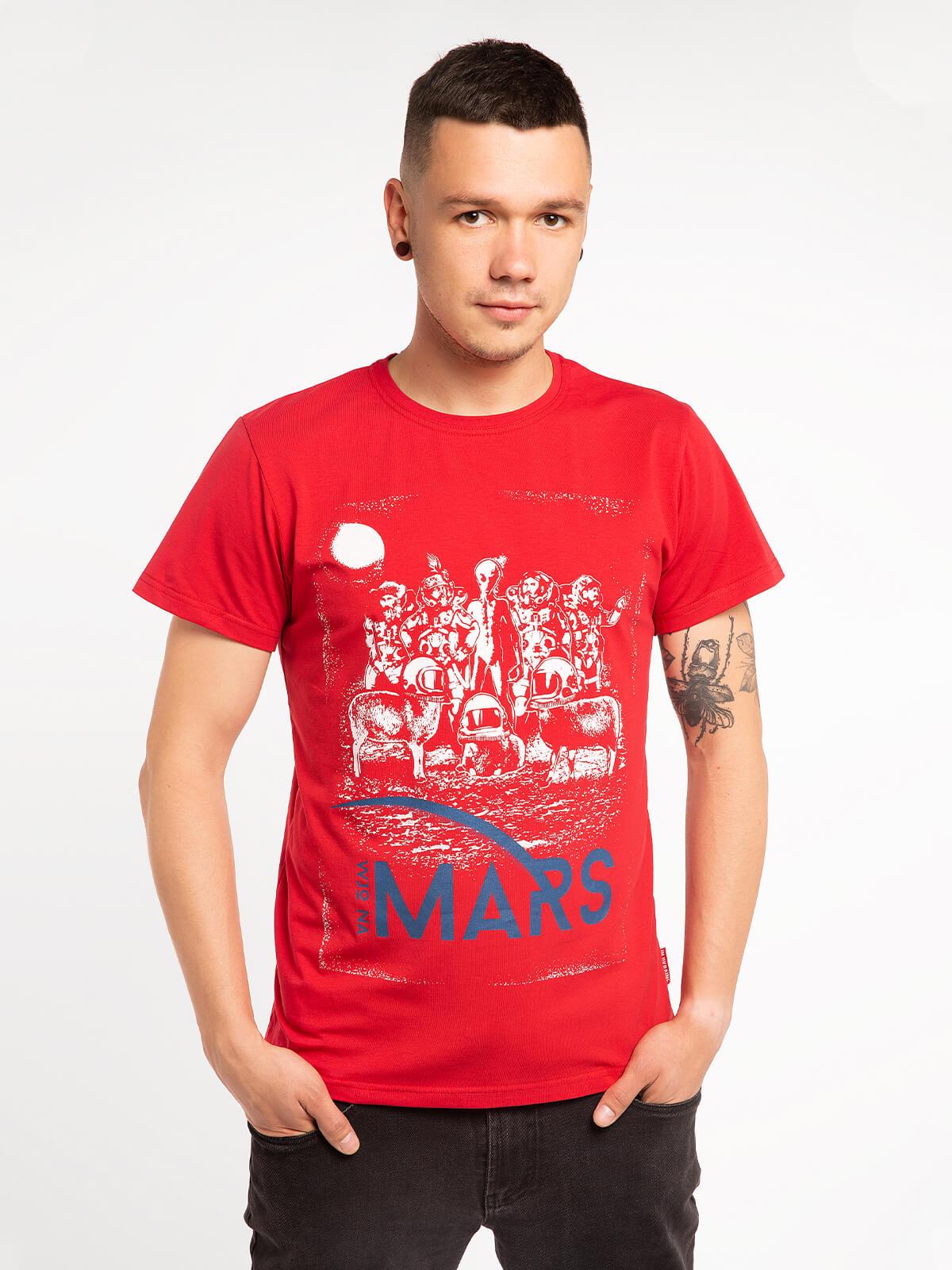 Чоловіча Футболка Mars. Колір червоний. Футболкаунісекс(розміри чоловічі).