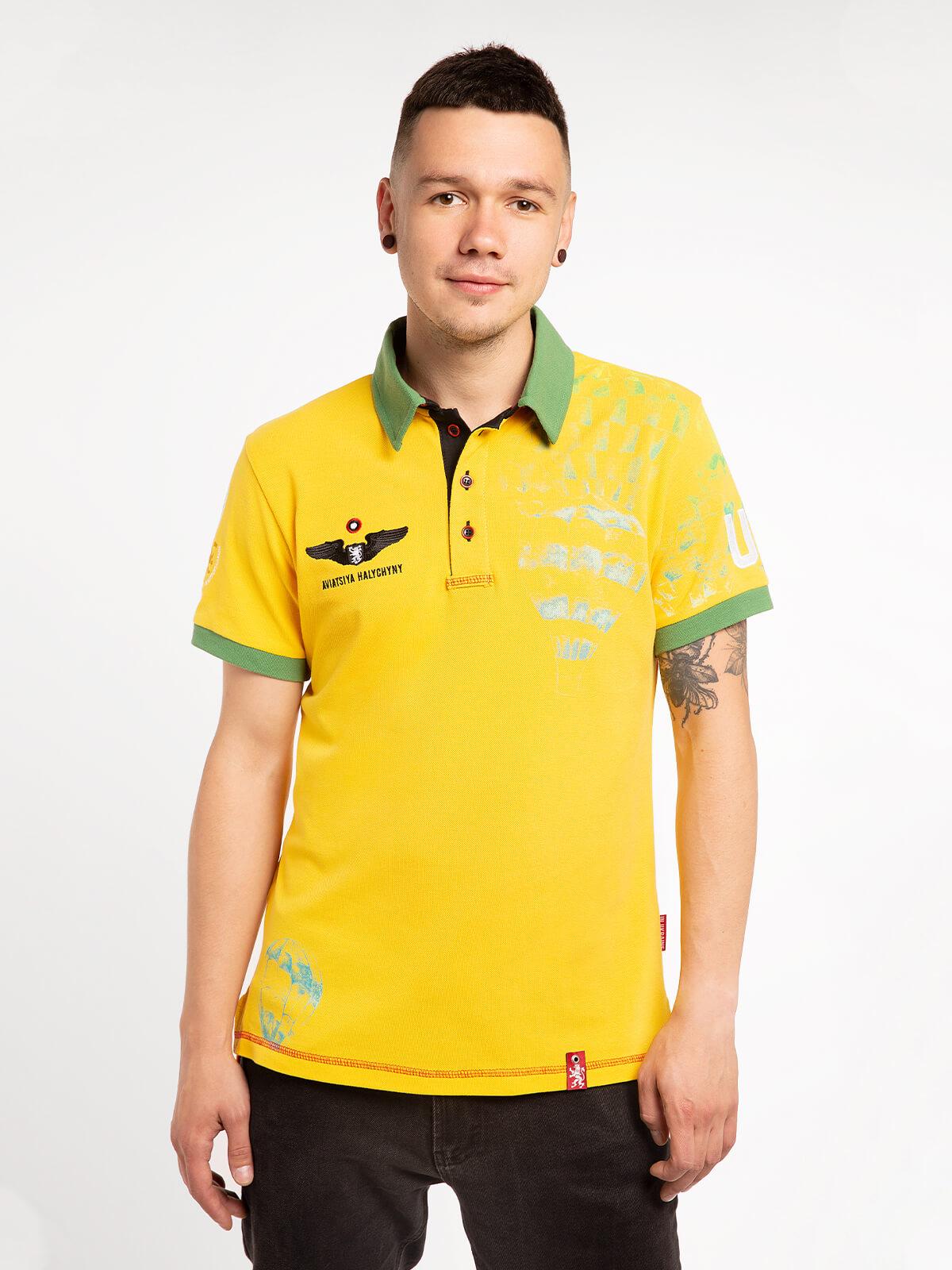 Men's Polo Shirt Balloon. Color yellow. Pique fabric: 100% cotton.