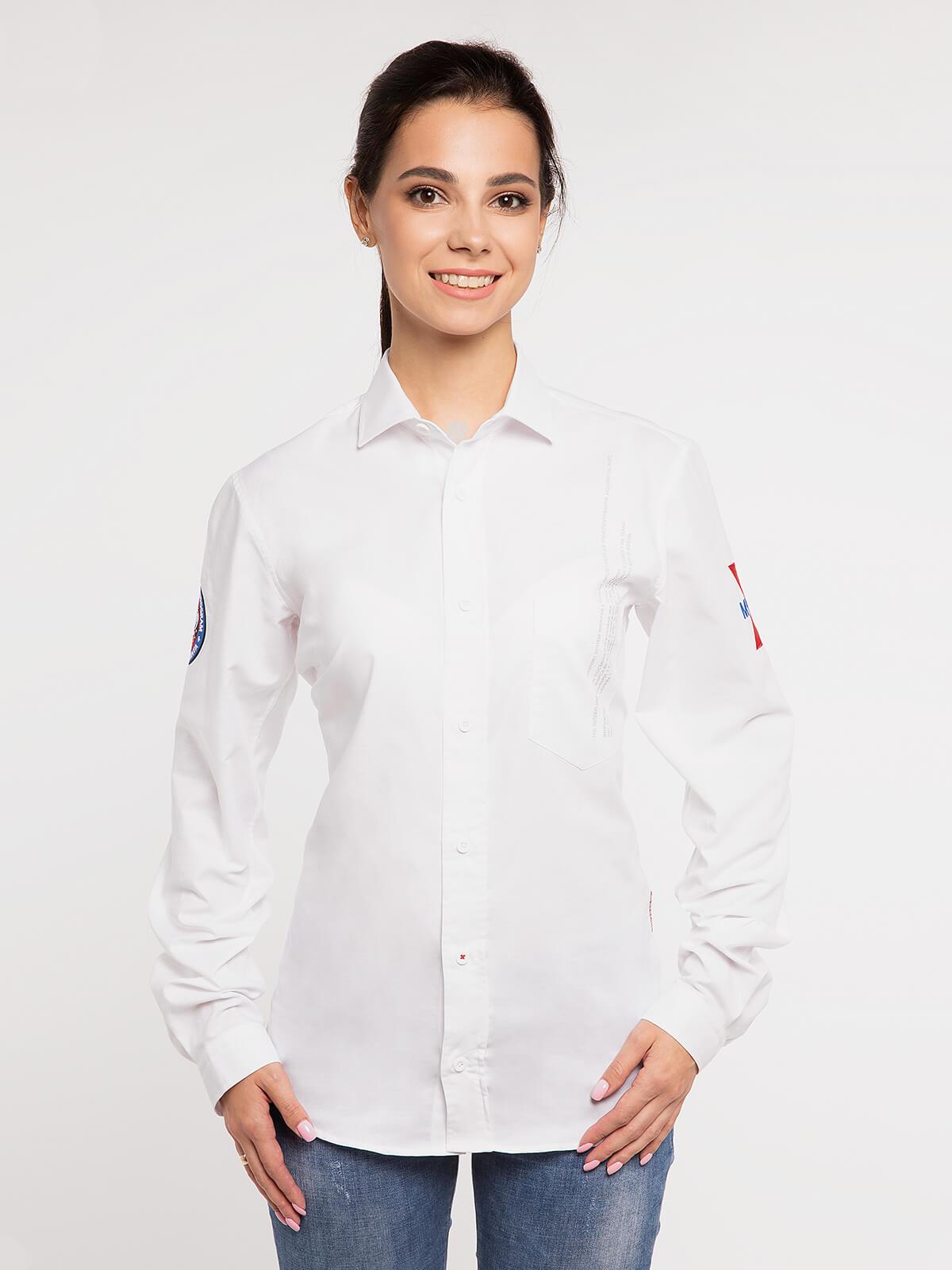 Women's Shirt Molfar-X. Color white. Pique fabric: 100% cotton.