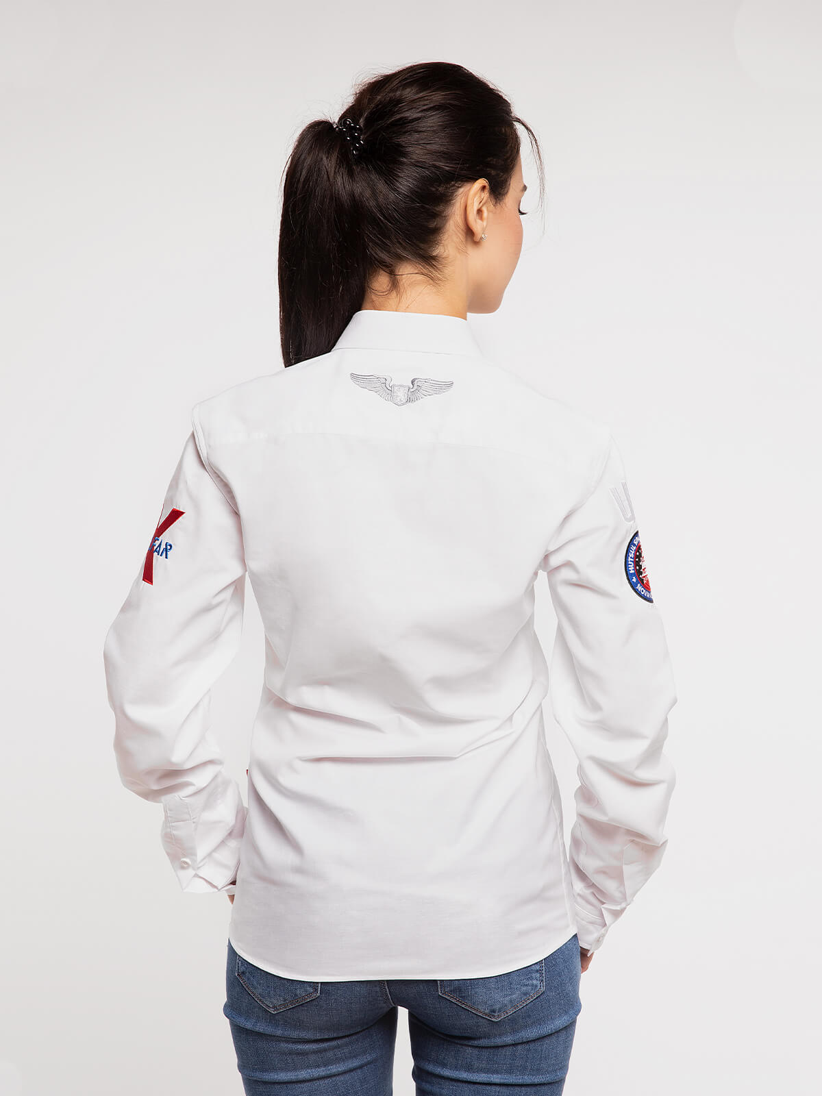 Women's Shirt Molfar-X. Color white.  Technique of prints applied: embroidery, silkscreen printing.