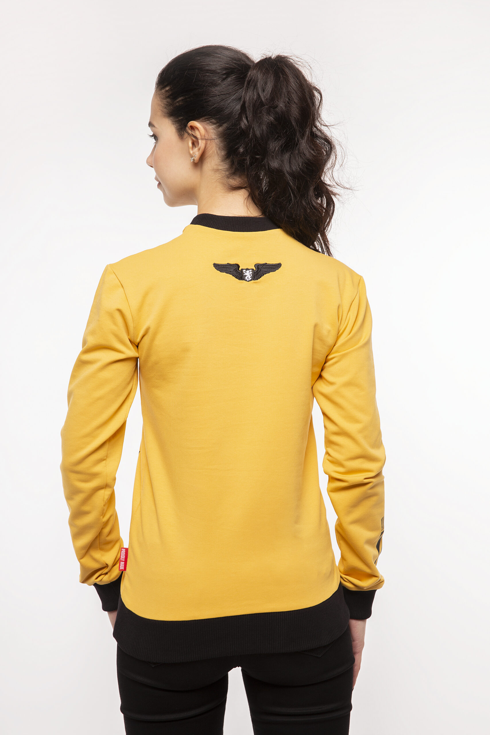 Women's Long Sleeve Have A Nice Fligh. Color yellow.  Technique of prints applied: silkscreen printing.