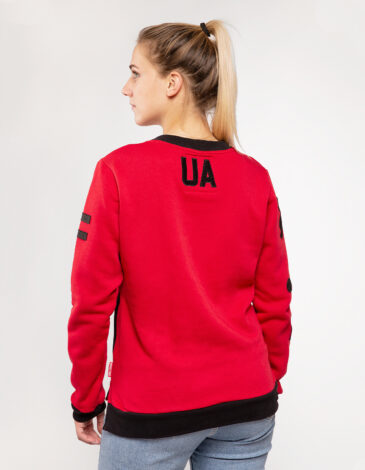 Women's Sweatshirt Ua. Color red.  Technique of prints applied: silkscreen printing.