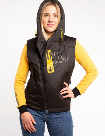 Women's Sleeveless Jacket Ukr Falcons. Color black. Fabric: 100% polyester Filler: synthetic winterizer Technique of prints applied: embroidery, silkscreen printing.