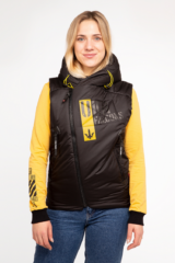 Women's Sleeveless Jacket Ukr Falcons. Fabric: 100% polyester Filler: synthetic winterizer Technique of prints applied: embroidery, silkscreen printing.