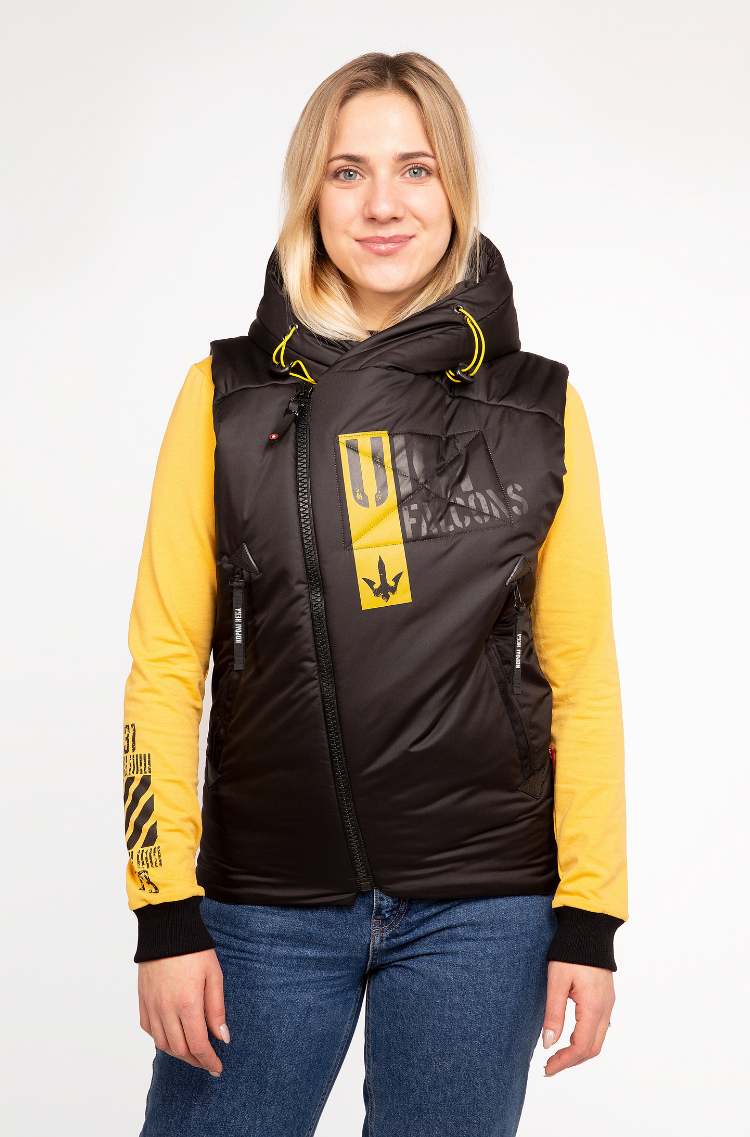 Women's Sleeveless Jacket Ukr Falcons. Color black.  Size worn by the model: S.