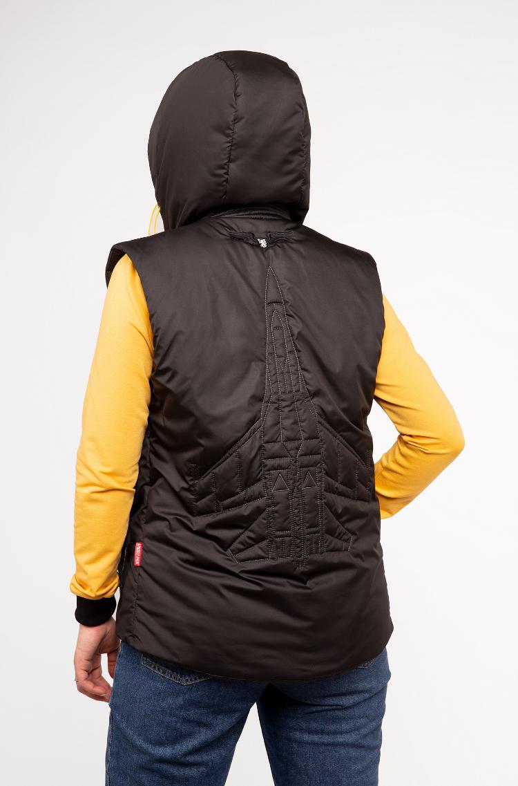 Women's Sleeveless Jacket Ukr Falcons. Color black.  Height of the model: 165 cm.