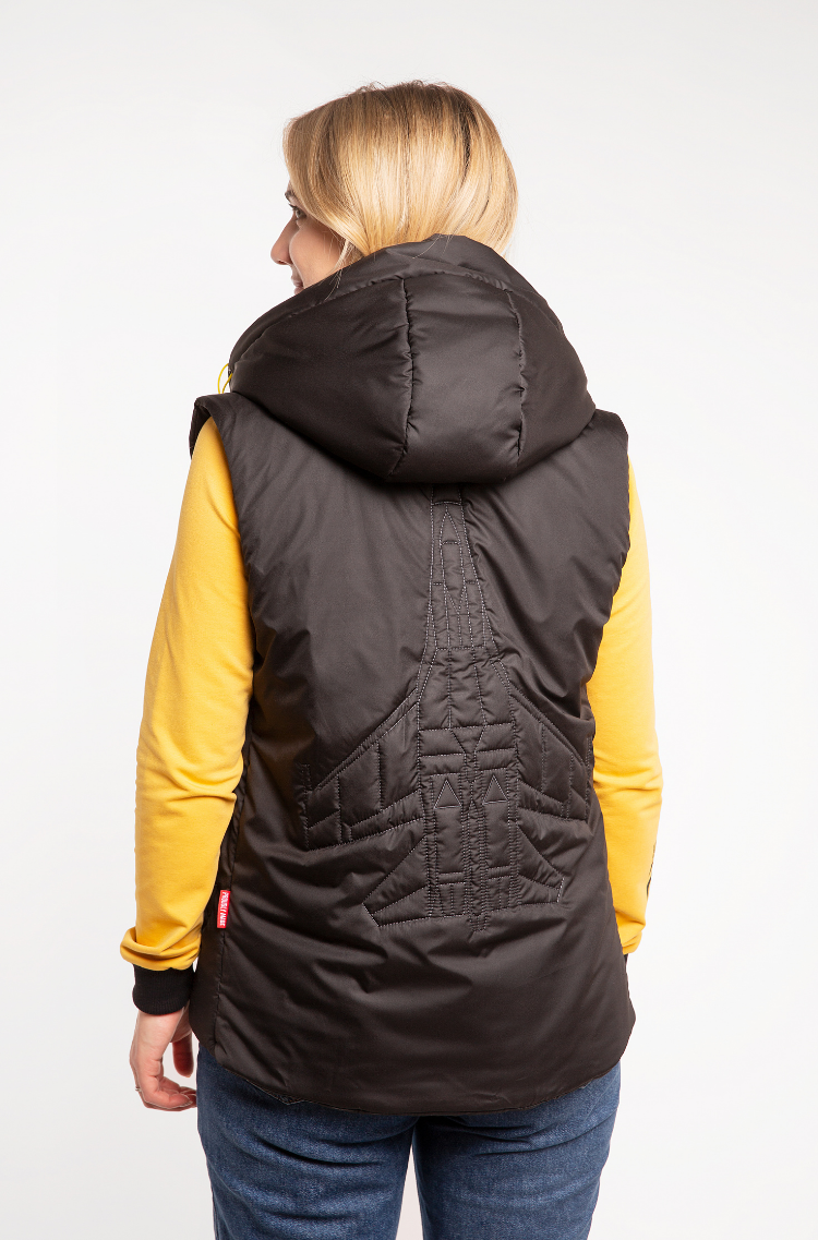 Women's Sleeveless Jacket Ukr Falcons. Color black.  The color shades on your screen may differ from the original color.