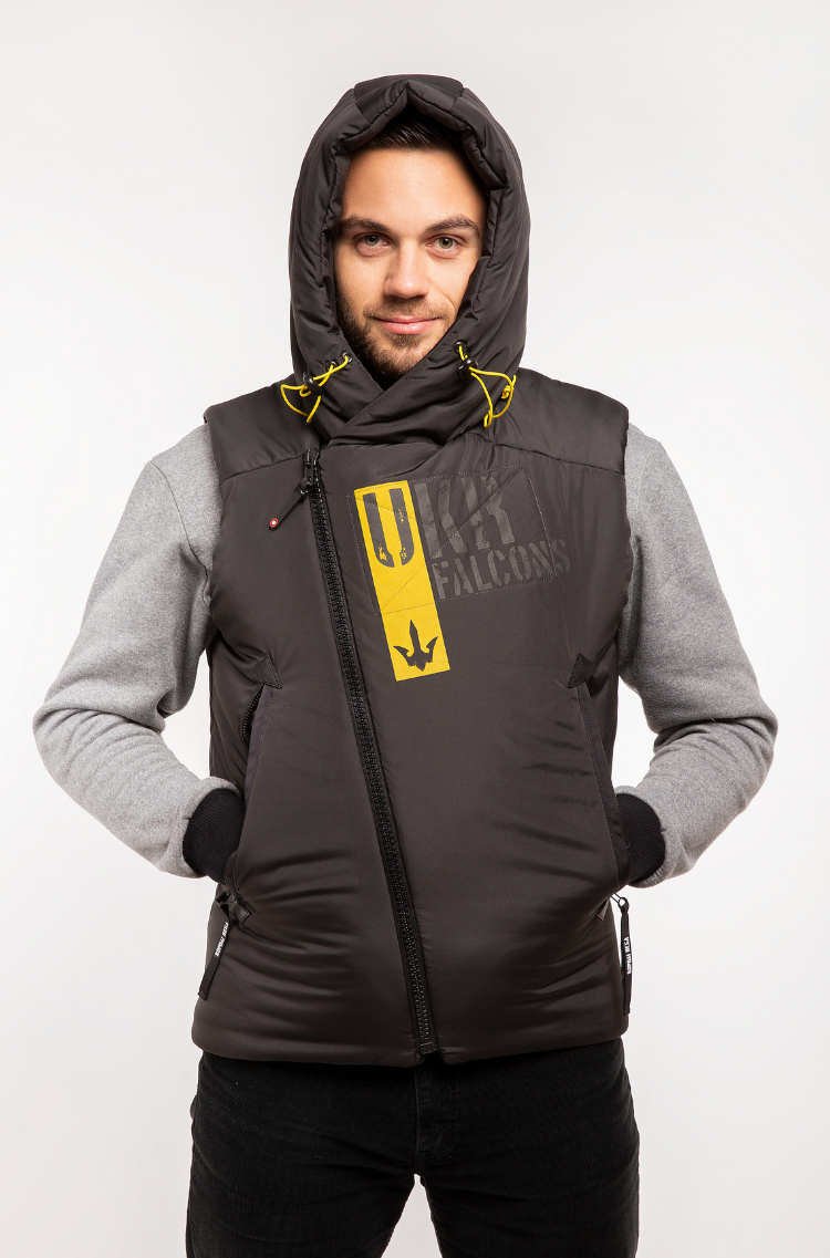 Men's Sleeveless Jacket Ukr Falcons. Color black.  The color shades on your screen may differ from the original color.