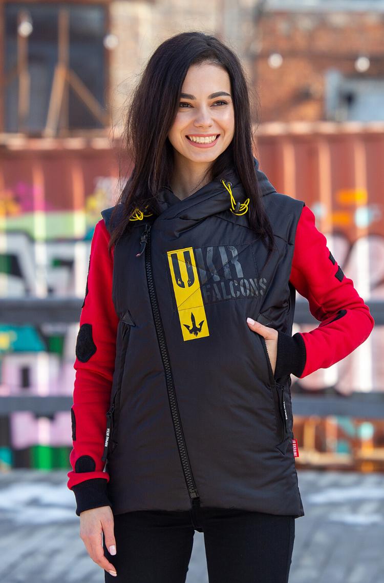 Women's Sleeveless Jacket Ukr Falcons. Color black. 8.