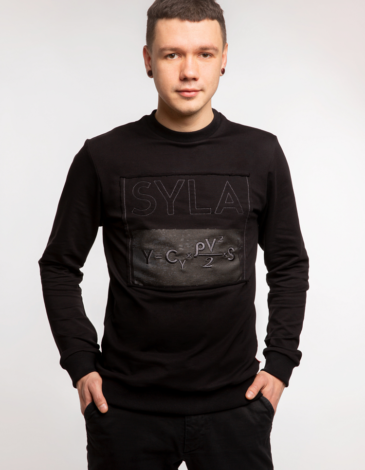 Men's Long Sleeves Syla. Color black. Material: 95% cotton, 5% spandex.