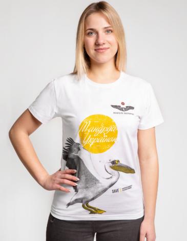 Women's T-Shirt Pelican. Color white. Благодійна футболка.