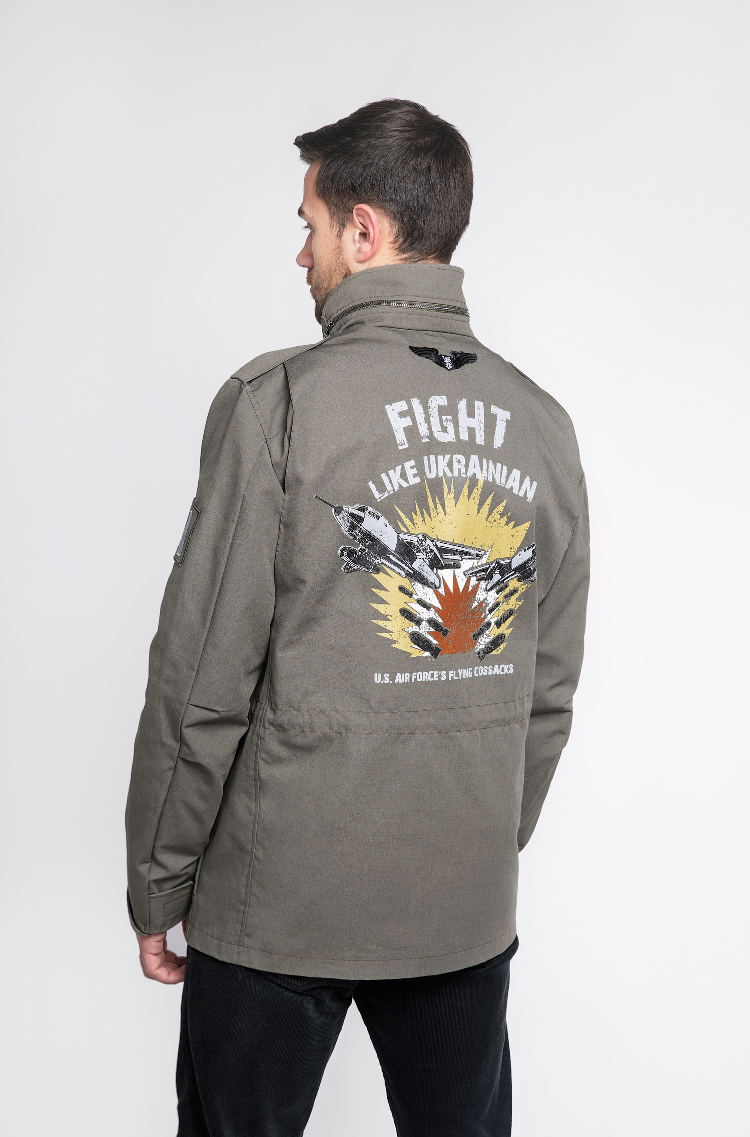 Men's Jacket М-65 Byreviy. Color khaki.  Technique of prints applied: silkscreen printing.