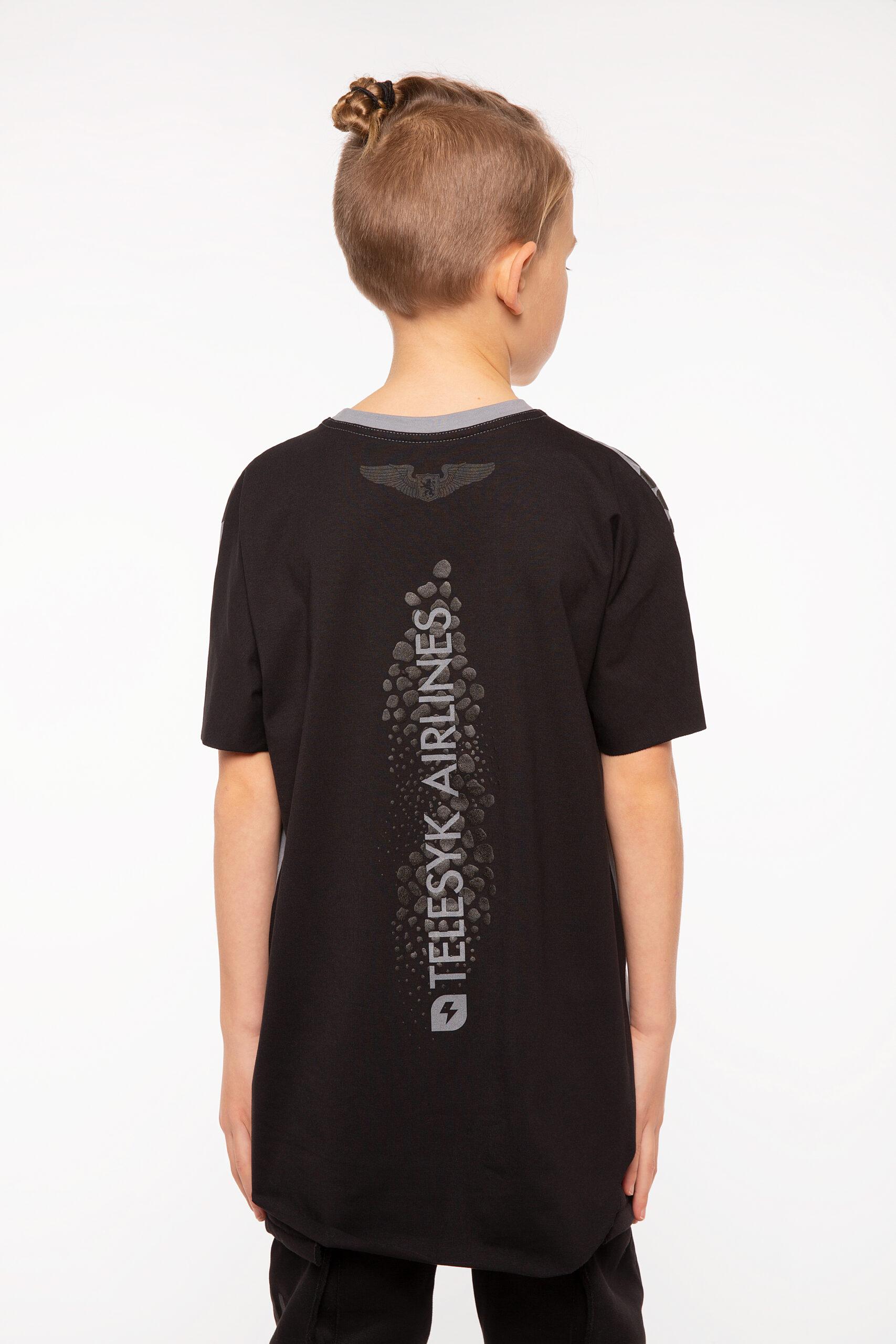 Kids T-Shirt Stingray. Color dark gray.  Technique of prints applied: silkscreen printing.