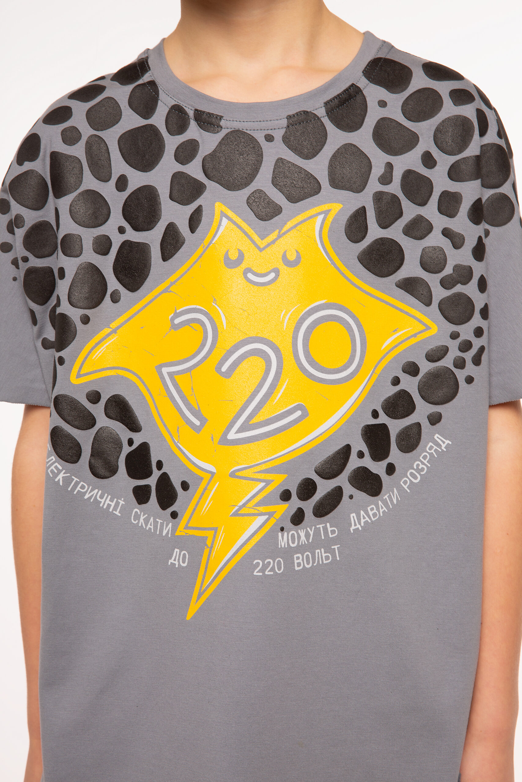Kids T-Shirt Stingray. Color dark gray.  Material: 77% cotton, 23% polyester.