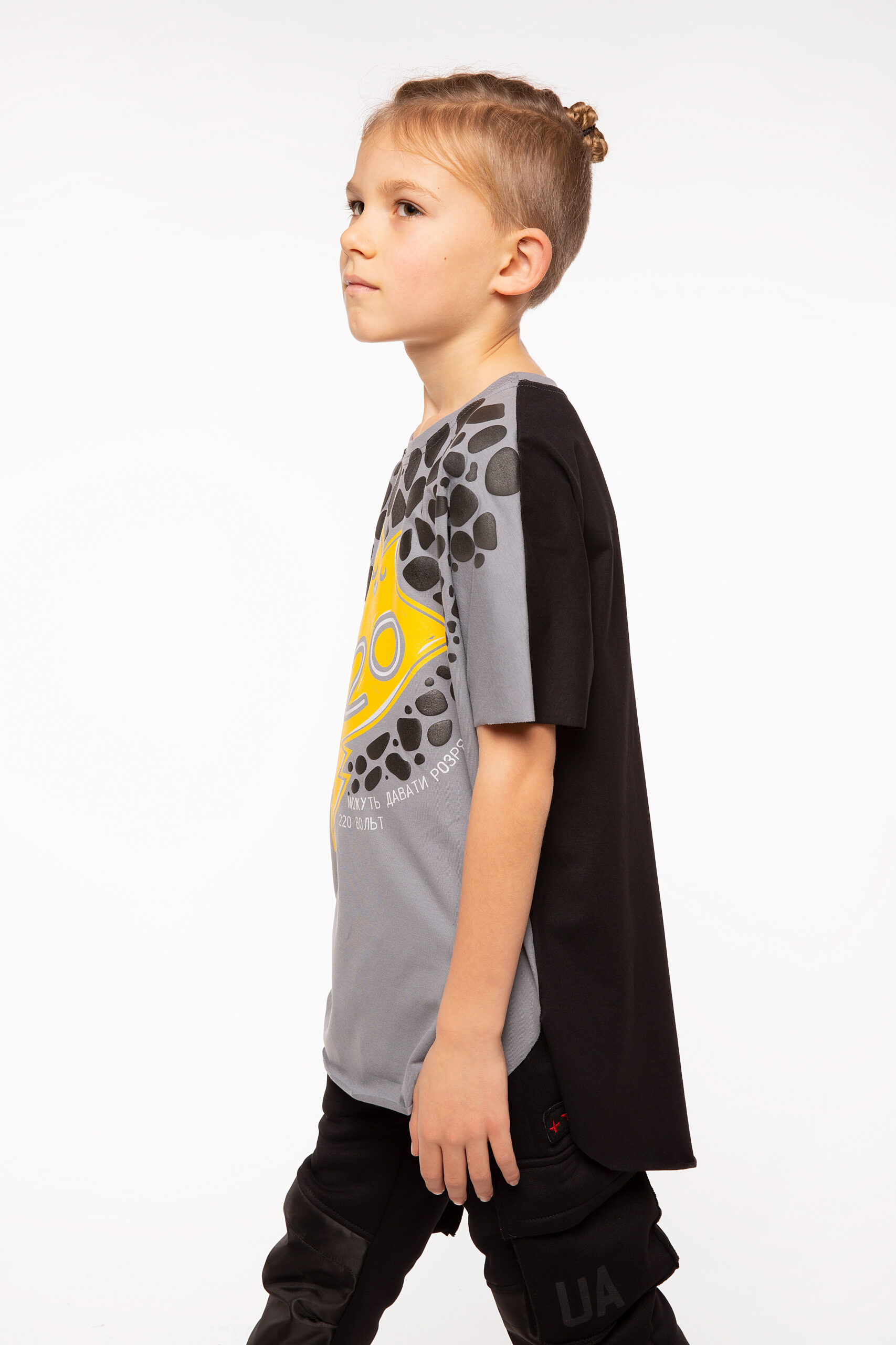 Kids T-Shirt Stingray. Color dark gray.  The color shades on your screen may differ from the original color.