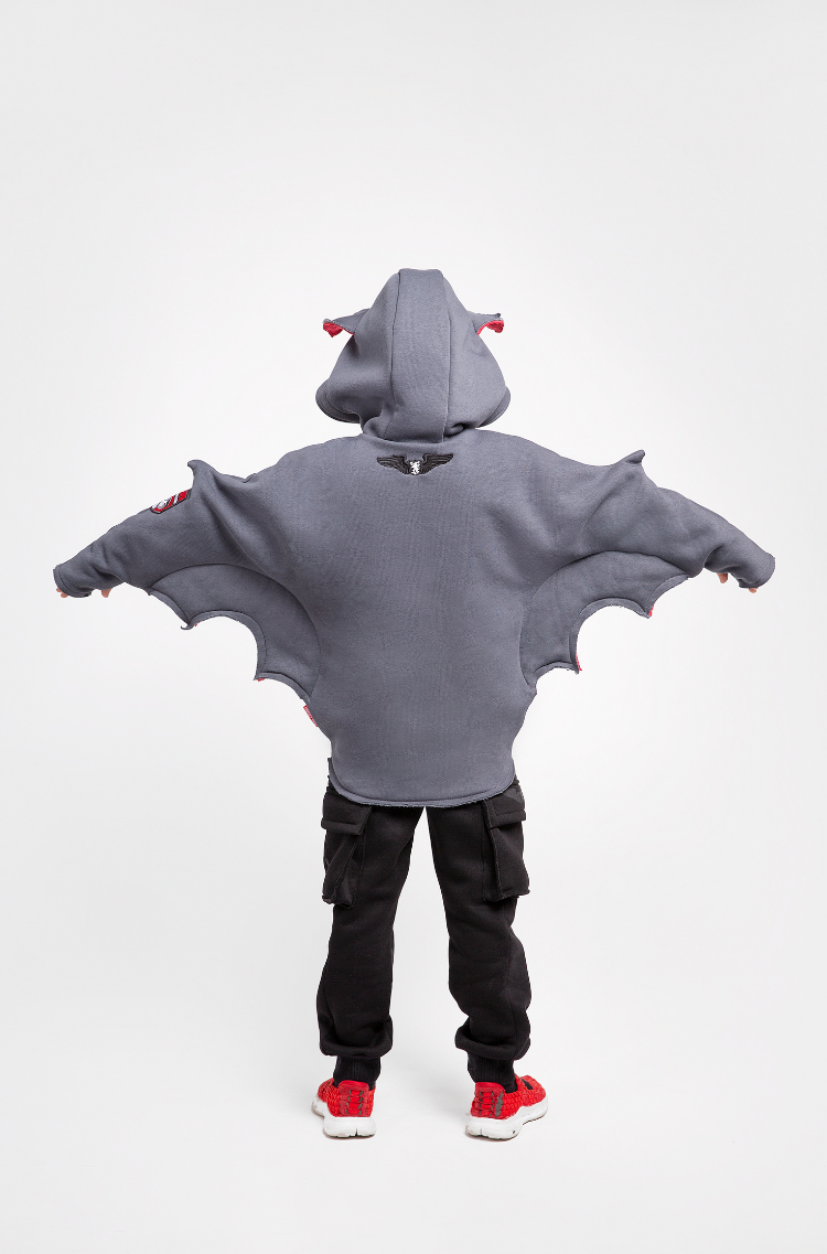 Kids Hoodie Baby Bat. Color graphite.  Would you like to get a slightly bigger size? Just click here  Material: 95% cotton, 5% spandex.