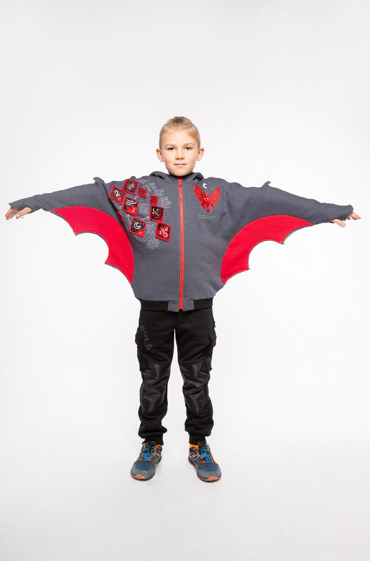 Kids Hoodie Bat. Color graphite. 9.