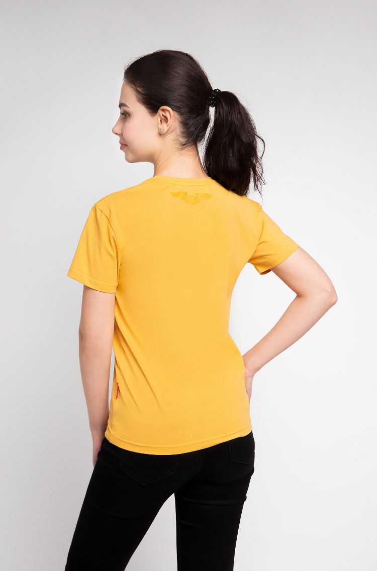 Basic Set Of Women's T-Shirts Colors Burst. Color yellow.  It looks great on a female figure! Material: 95% cotton, 5% spandex.