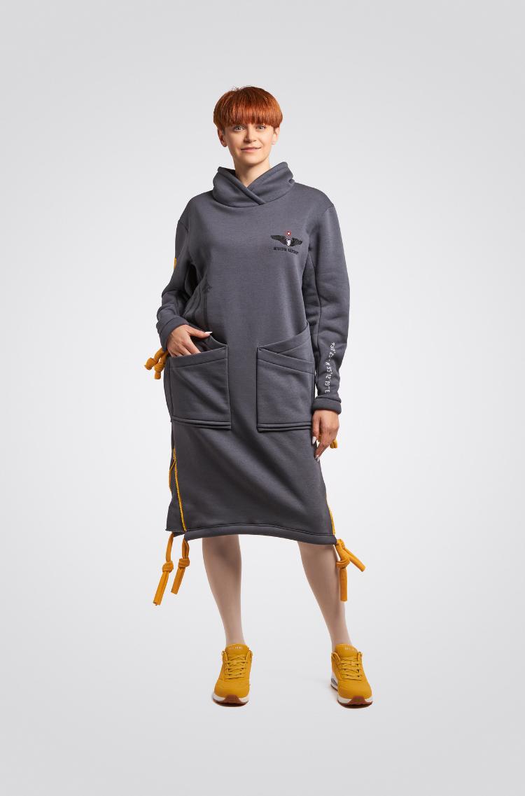 Тепла Сукня Стрімка. Колір графітовий. Матеріал – тринитка: 77% бавовна, 23% поліефр.