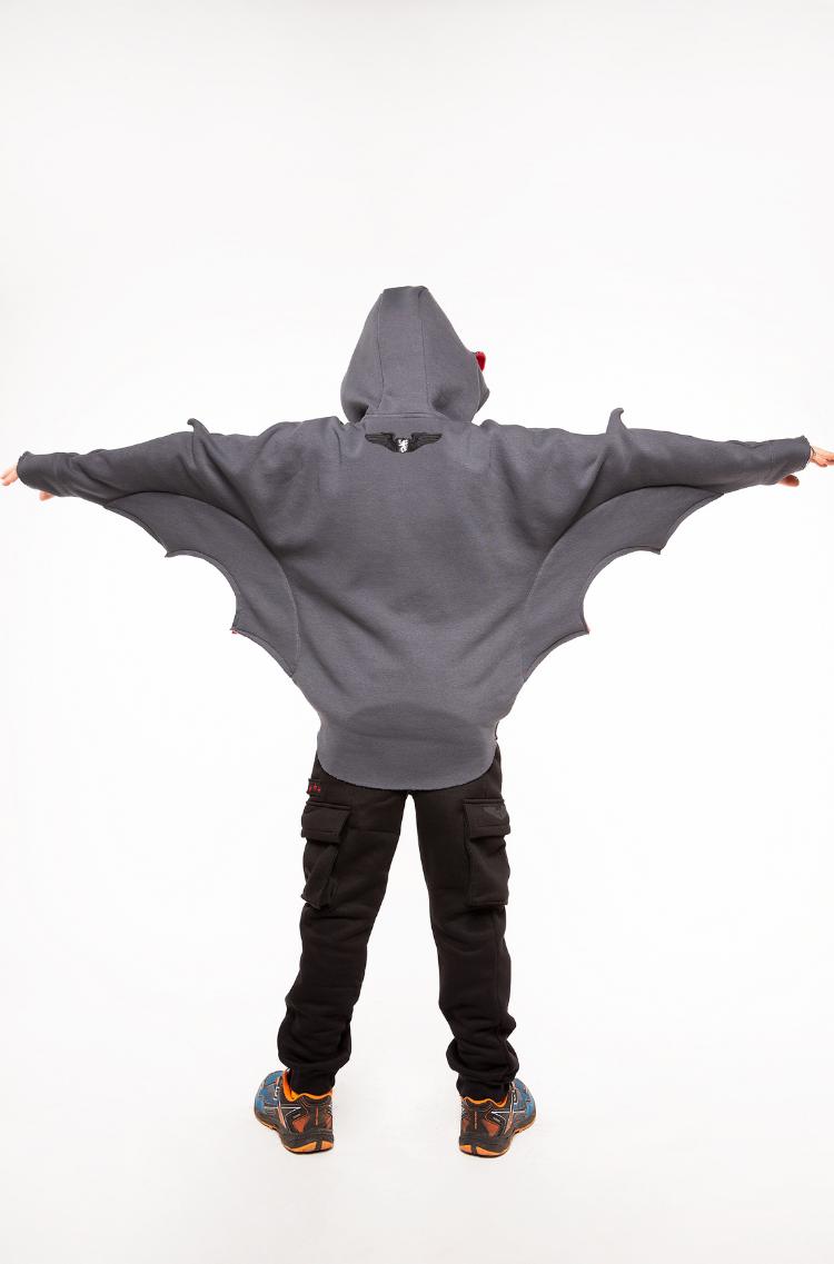 Kids Hoodie Bat. Color graphite. 8.