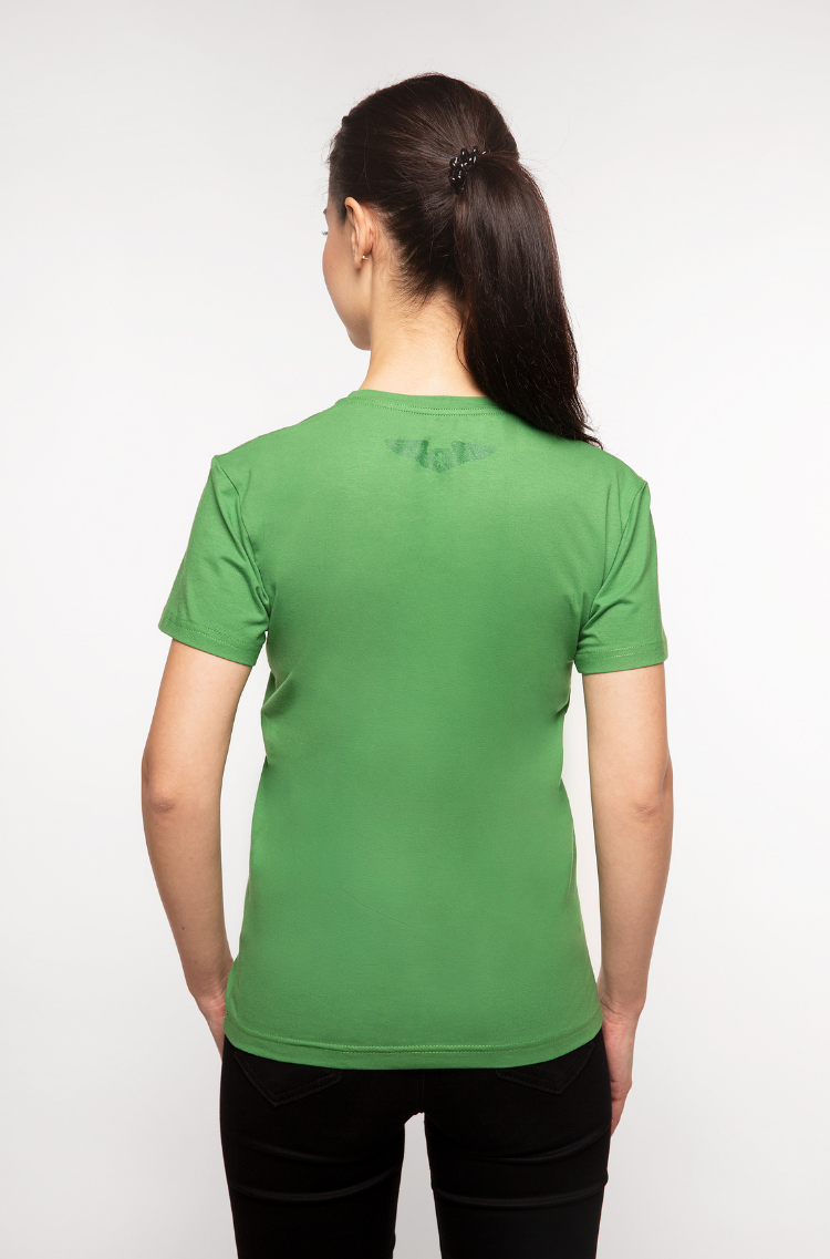 Basic Set Of Women's T-Shirts Colors Burst. Color green.  It looks great on a female figure! Material: 95% cotton, 5% spandex.