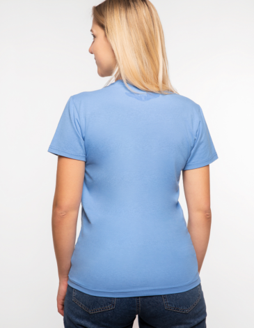 Women's T-Shirt Must-Have. Color sky blue.  It looks great on a female figure! Material: 95% cotton, 5% spandex.