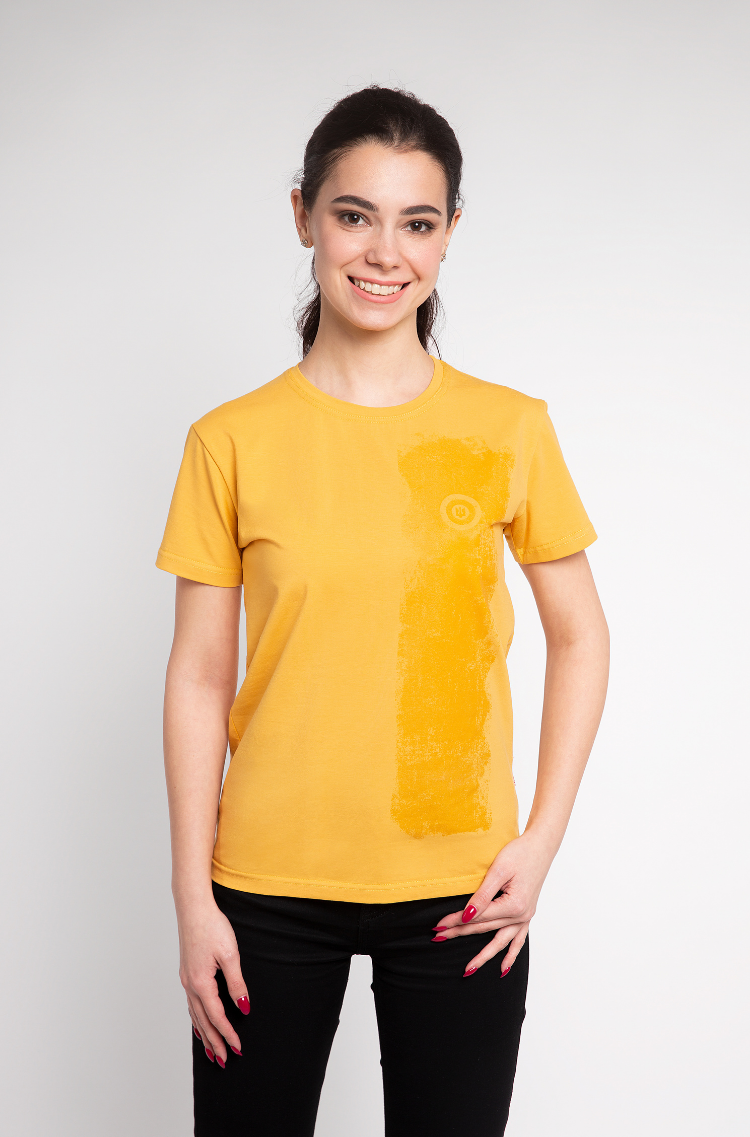 Basic Set Of Women's T-Shirts Colors Burst. Color yellow.  Don't worry about the universal size.