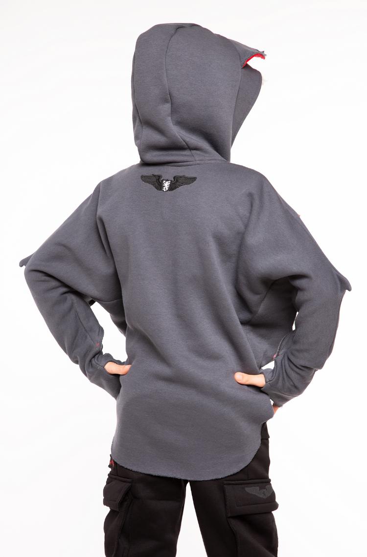 Kids Hoodie Bat. Color graphite.  Material: 95% cotton, 5% spandex.