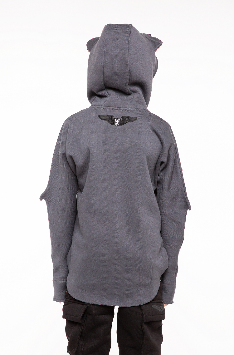 Kids Hoodie Bat. Color graphite.  Would you like to get a slightly smaller size? Just click here  The color shades on your screen may differ from the original color.