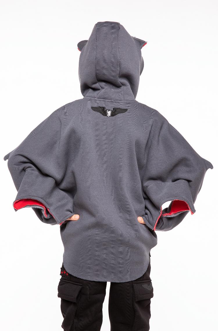 Kids Hoodie Bat. Color graphite. 6.