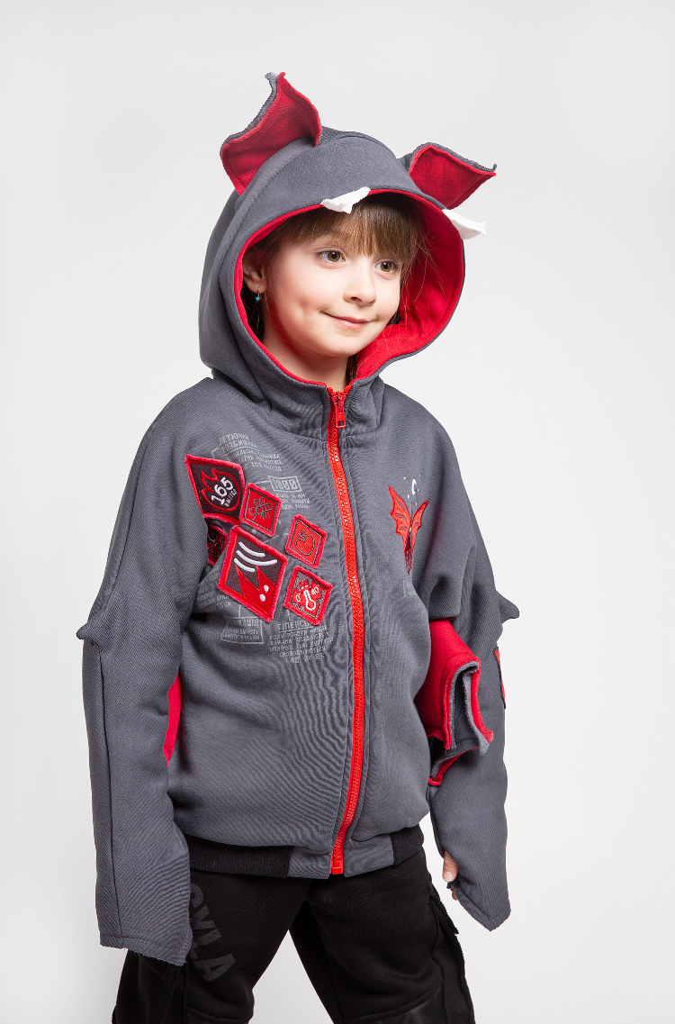 Kids Hoodie Baby Bat. Color graphite.  The color shades on your screen may differ from the original color.