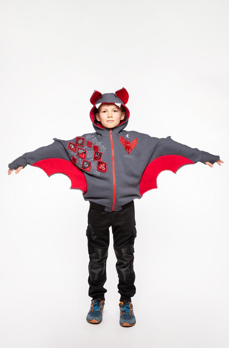 Kids Hoodie Bat. Color graphite. 7.