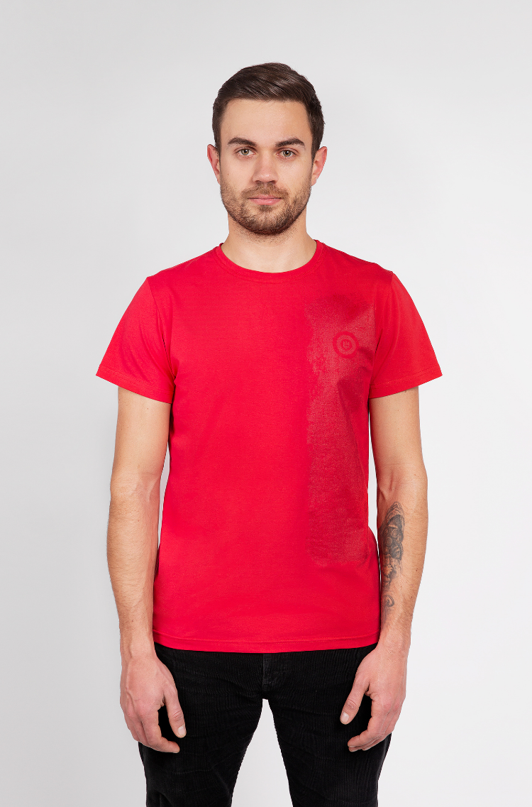 Basic Set Of Men'S T-Shirts Colors Burst. Color red.  Technique of prints applied:  silkscreen printing.