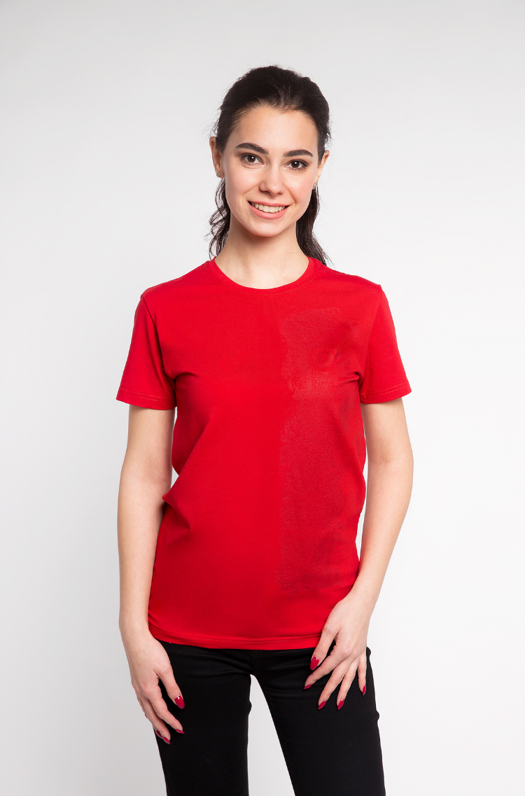 Basic Set Of Women's T-Shirts Colors Burst. Color red.  It looks great on a female figure! Material: 95% cotton, 5% spandex.