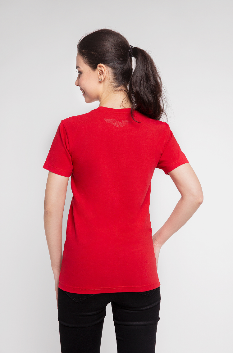 Basic Set Of Women's T-Shirts Colors Burst. Color red.  Don't worry about the universal size.