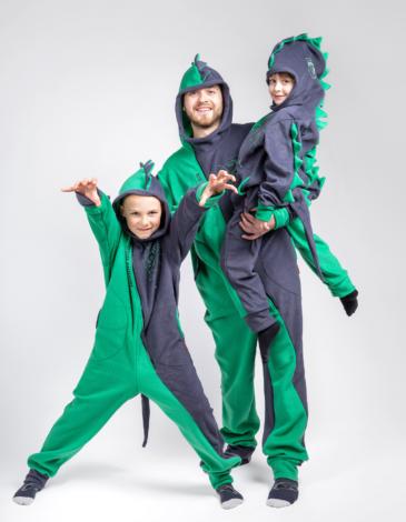 Флісова Піжама-Комбінезон Дракон. Колір зелений. Піжама: унісекс, пасує і дівчаткам, і хлопцям.