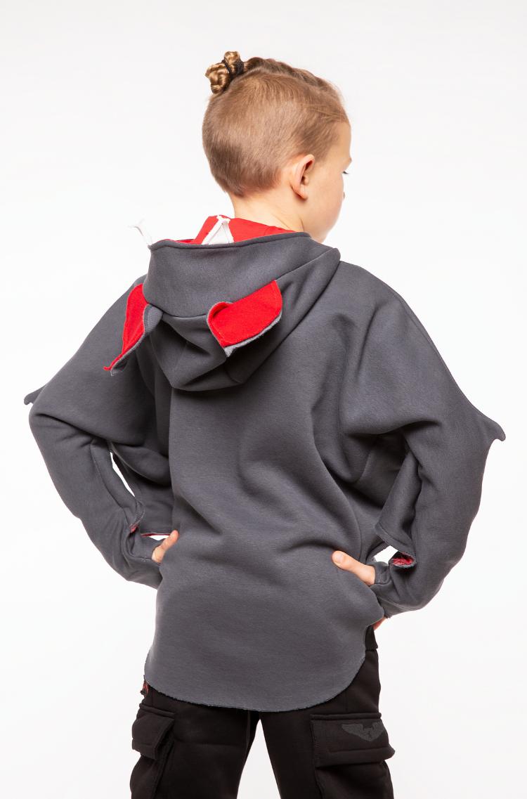Kids Hoodie Bat. Color graphite.  .