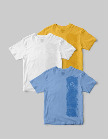 Basic Set Of Men'S T-Shirts Colors Burst. Color yellow.  Technique of prints applied:   silkscreen printing.