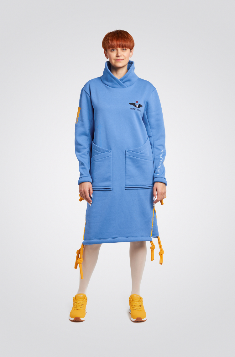 Тепла Сукня Стрімка. Колір блакитний. Матеріал – тринитка: 77% бавовна, 23% поліефр.