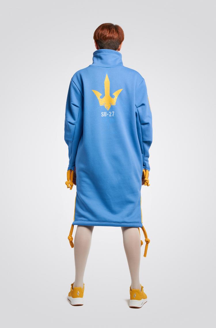 Тепла Сукня Стрімка. Колір блакитний.  Технологія нанесення зображень: шовкодрук, вишивка, шеврони.