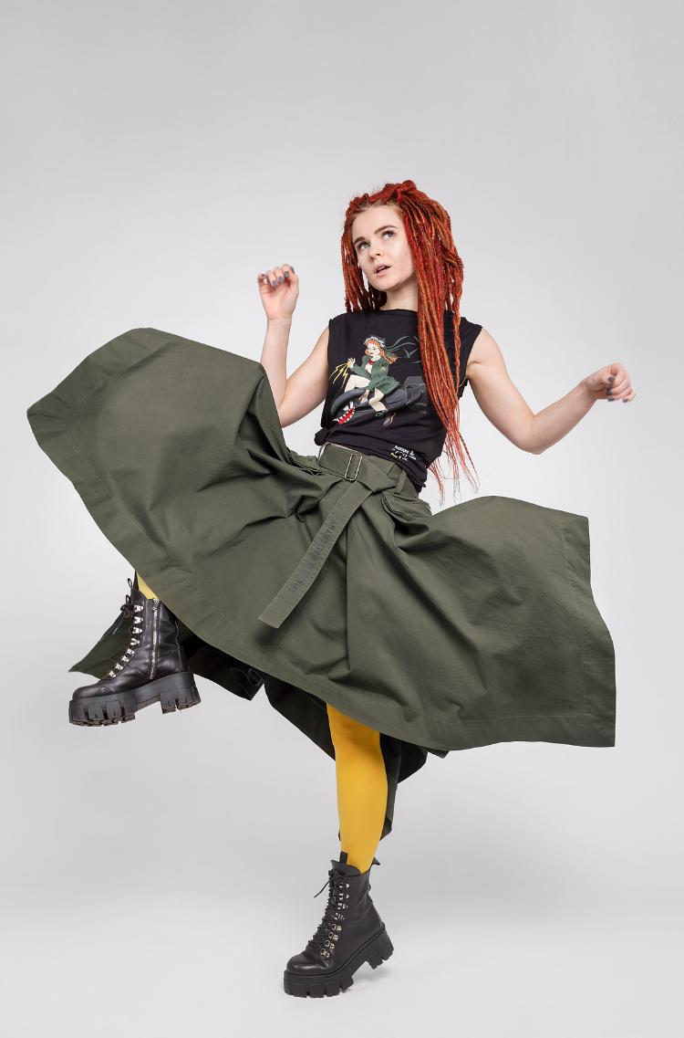 Women's Skirt Broom. Color khaki. 11.