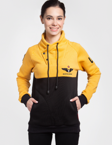 Women's Sweatshirt Serafym. Color yellow. Three-cord thread fabric: 79% cotton, 21% polyester.
