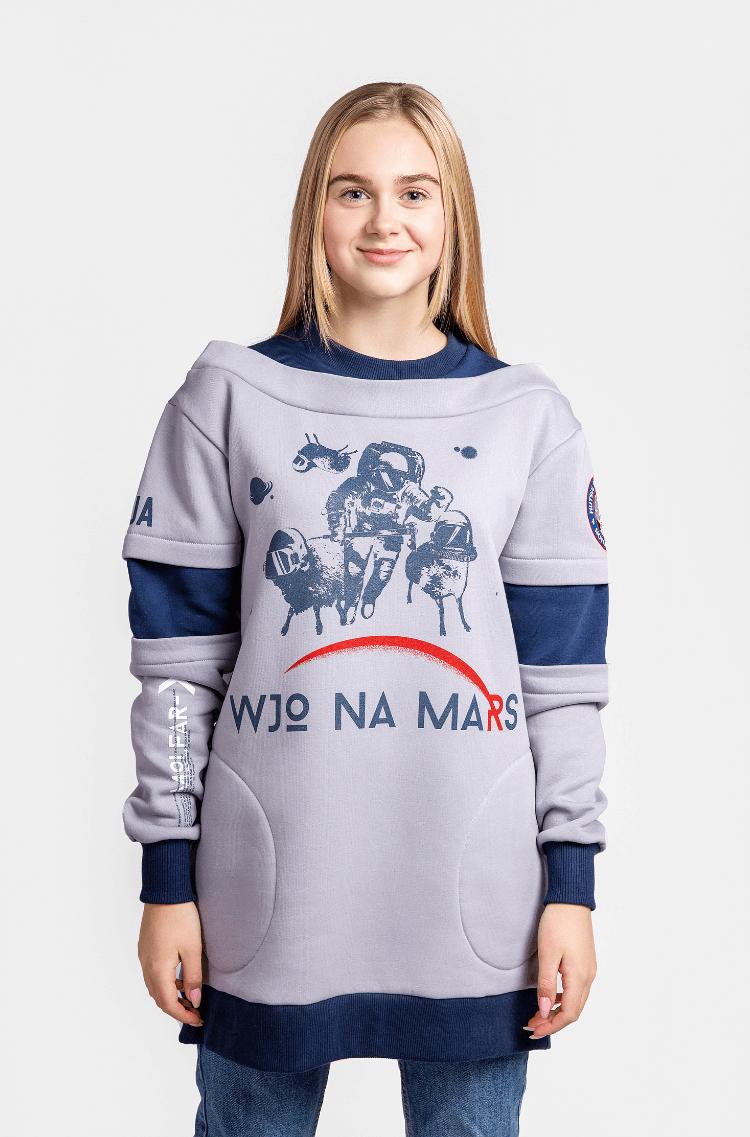 Жіночий Світшот Вйо На Марс. Колір сірий. Матеріал – тринитка: 77% бавовна, 23% поліефір.