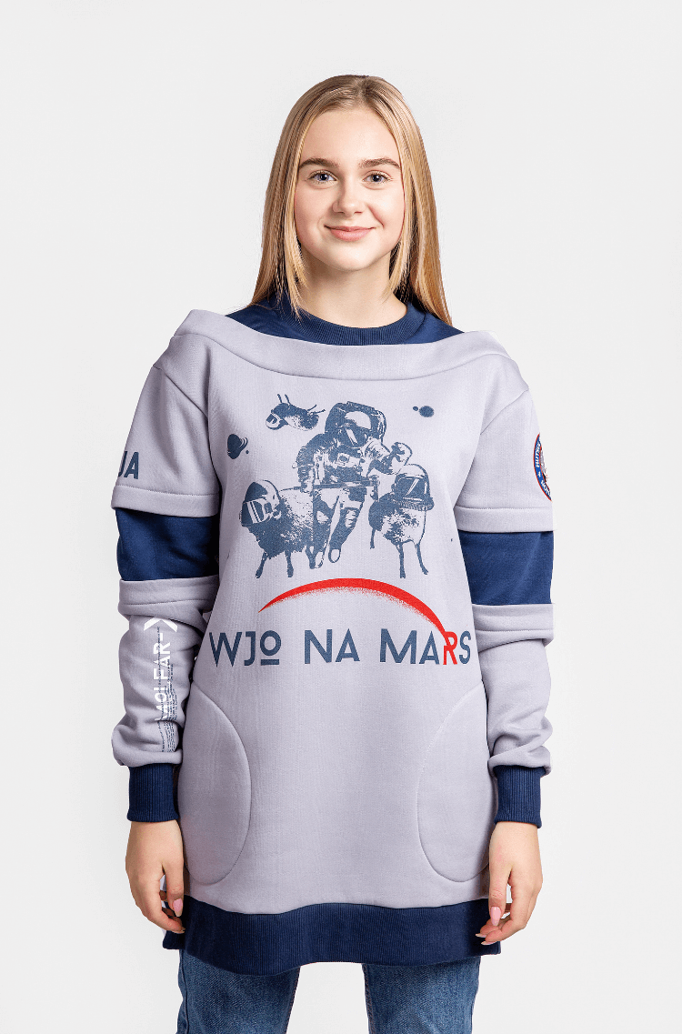 Women's Sweatshirt Wjo Na Mars. Color gray. Three-cord thread fabric: 77% cotton, 23% polyester.