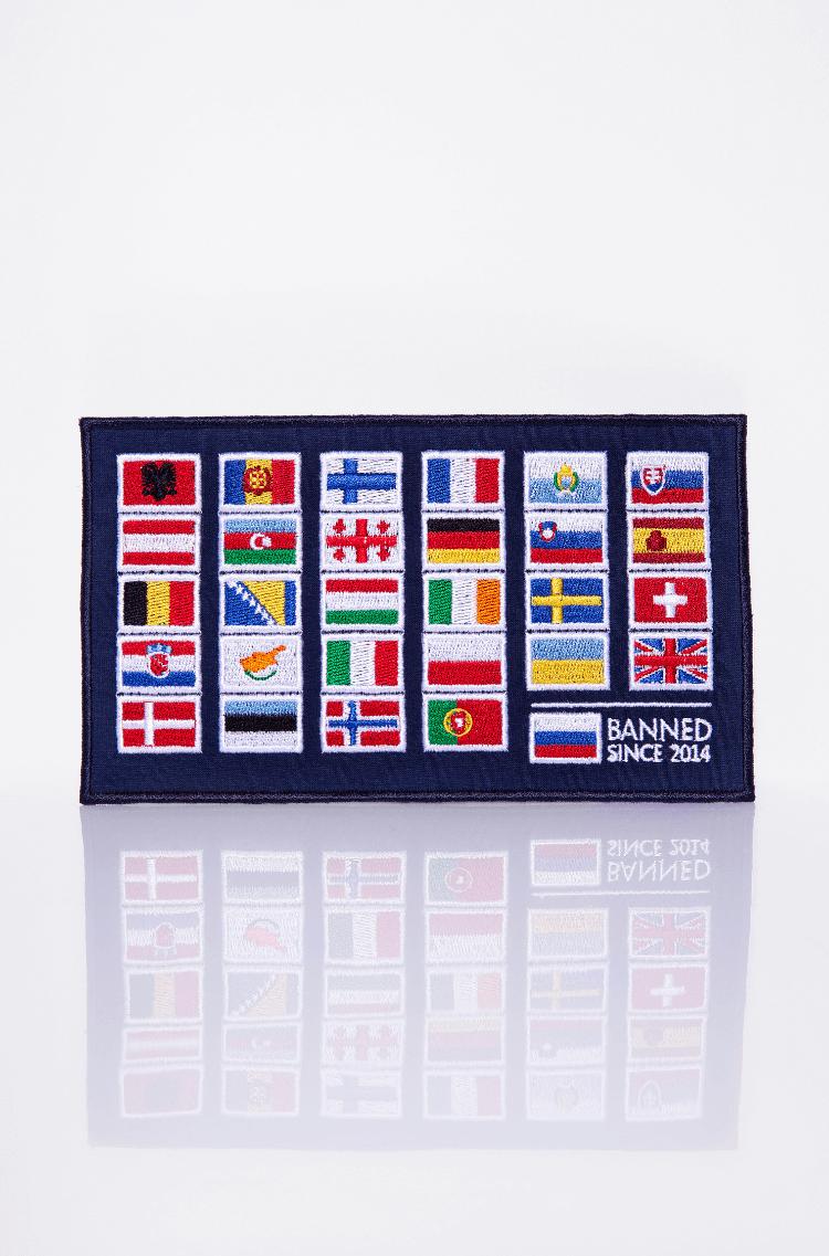 Stripe Avia Race. Color dark blue. Тут маємо прапори всіх країн, що брали участь у славетних Українських авіаперегонах.