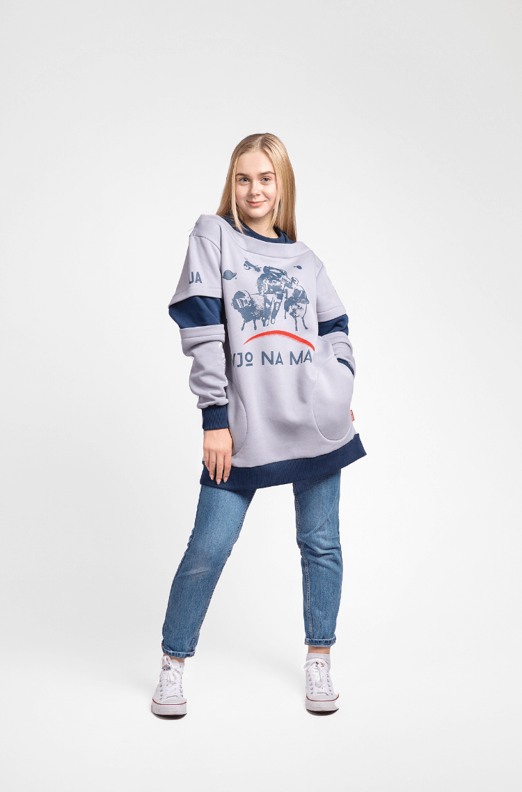 Women's Sweatshirt Wjo Na Mars. Color gray.  Size worn by the model: S.