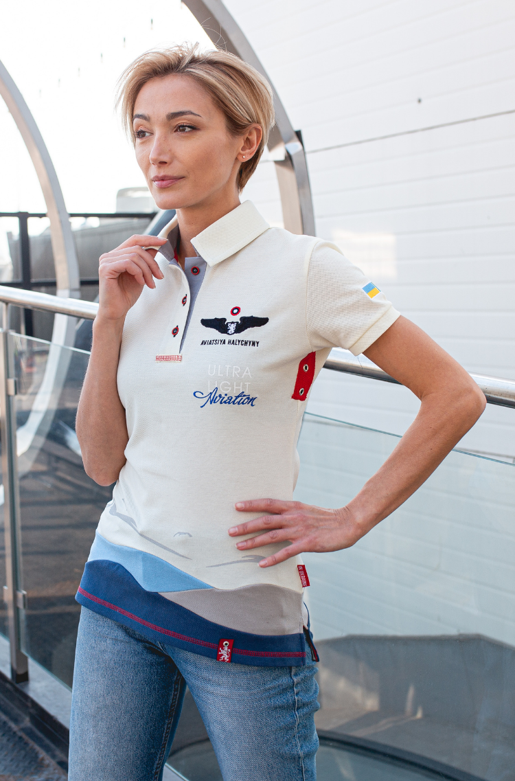 Women's Polo Shirt D'arrigo. Color ivory.  The color shades on your screen may differ from the original color.