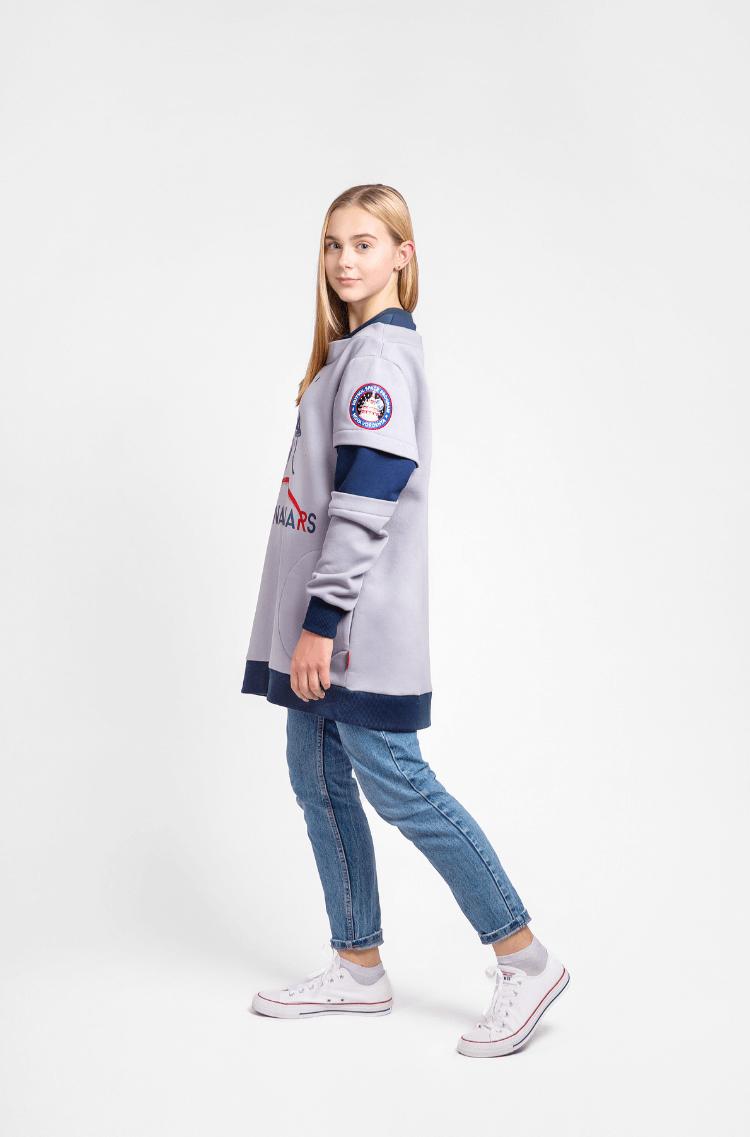 Women's Sweatshirt Wjo Na Mars. Color gray.  Height of the model: 170 cm.