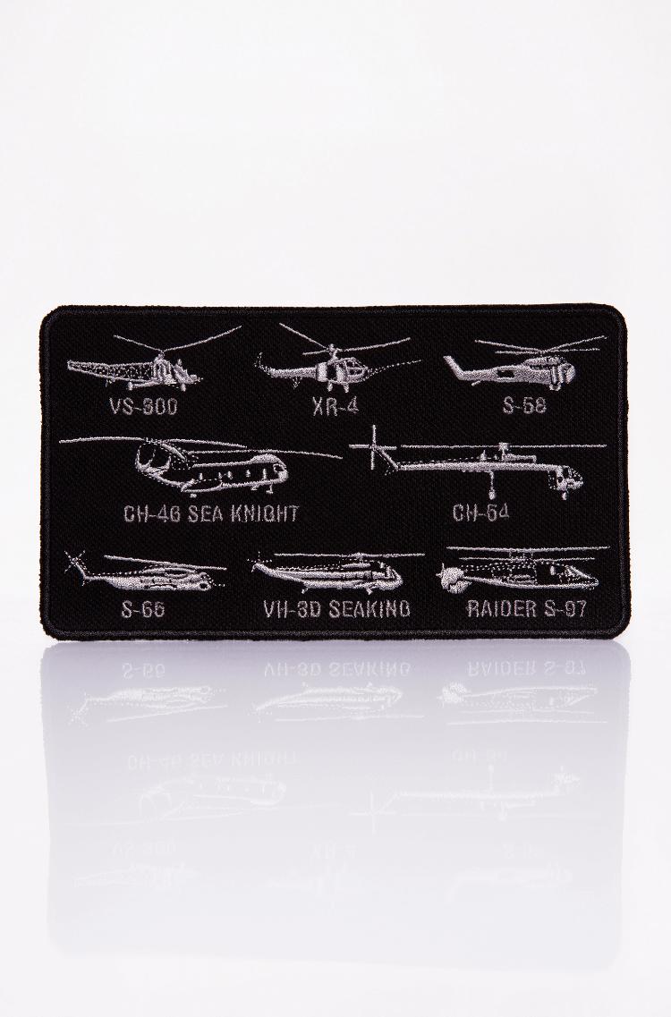 Нашивка Гелікоптери Сікорського. Колір чорний. Маємо тут шеврони з найкращими винаходами одного з кращих авіаторів світу — Ігоря Сікорського.
