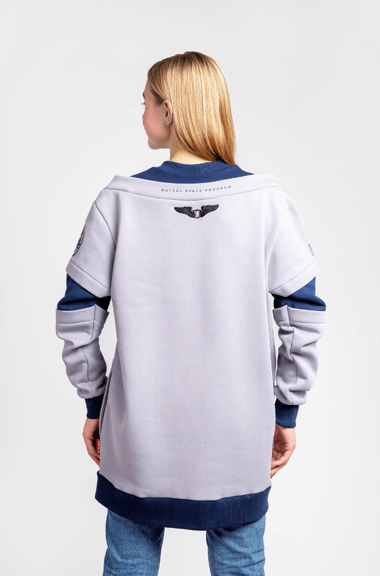 Жіночий Світшот Вйо На Марс. Колір сірий.  Технологія нанесення зображень: шовкодрук, вишивка, шеврони.